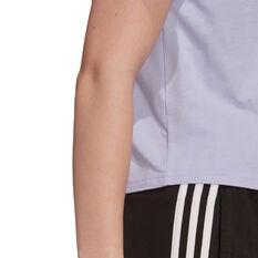 adidas Womens Essentials Loose 3-Stripes Cropped Tee, Purple, rebel_hi-res
