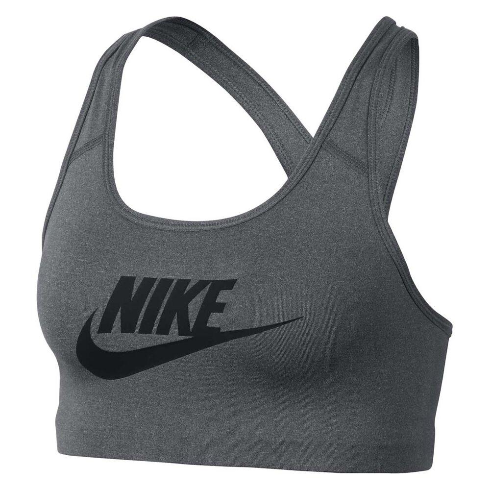 3e33d4f8b7 Nike Womens Pro Classic Swoosh Futura Sports Bra Grey   Black XS Adult