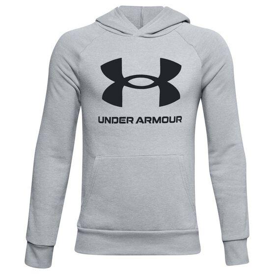 Under Armour Boys Rival Hoodie, Grey/Black, rebel_hi-res