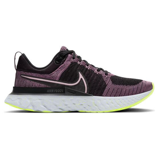 Nike React Infinity Run Flyknit 2 Womens Running Shoes, Pink/Black, rebel_hi-res