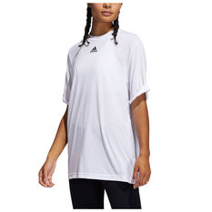 adidas Womens Boyfriend Rolled Tee White XS, White, rebel_hi-res