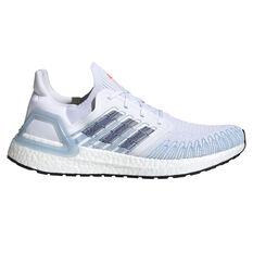 adidas Ultraboost 20 Mens Running Shoes White/Blue US 8, White/Blue, rebel_hi-res