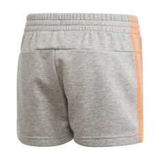adidas Girls 3 Stripes Shorts, Grey, rebel_hi-res