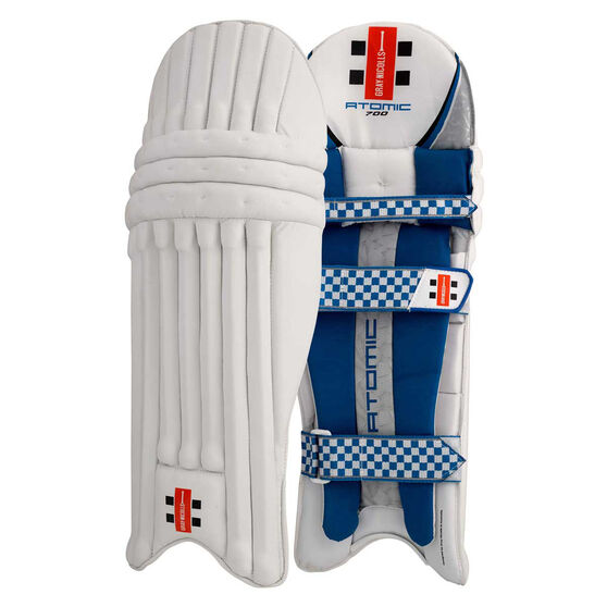 Gray Nicolls Atomic 700 Junior Cricket Batting Pads White / Blue Junior Right Hand, White / Blue, rebel_hi-res