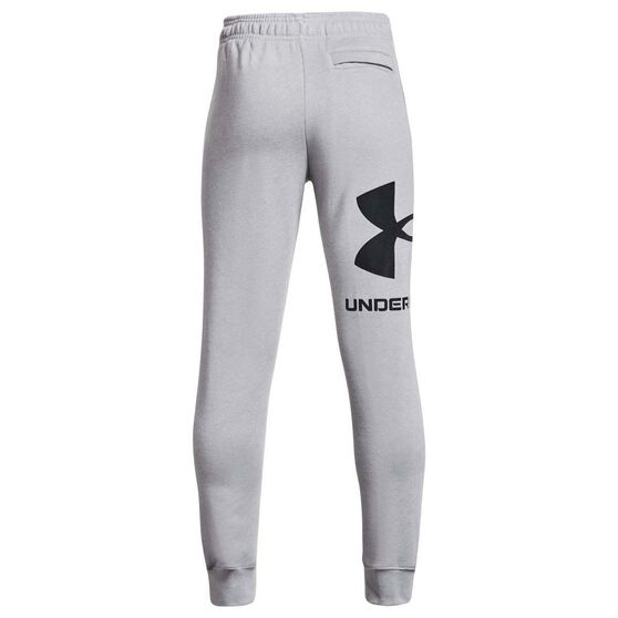 Under Armour Boys Rival Fleece Logo Jogger Pants, Grey/Black, rebel_hi-res