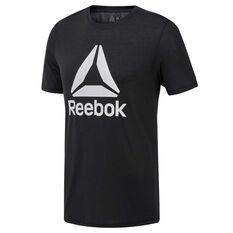 Reebok Mens Workout Ready Supremium Tee Black S, Black, rebel_hi-res