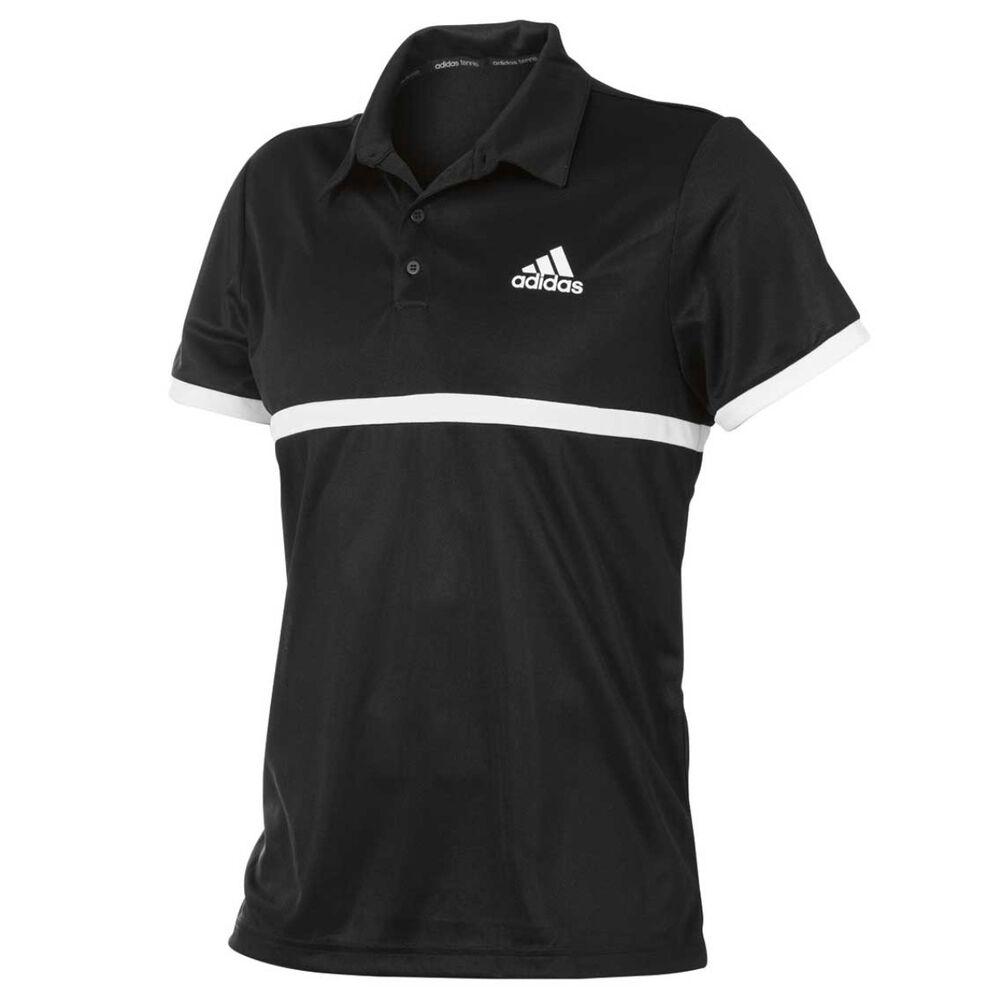 af89e8e5 adidas Mens Court Polo Shirt Black / White S | Rebel Sport