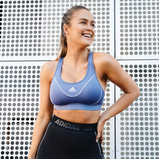 adidas Womens Believe This Medium Support Sports Bra Purple XS, Purple, rebel_hi-res