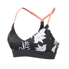 Roxy Womens Fitness PT Sports Bra Black / Print XS, Black / Print, rebel_hi-res