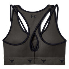 Under Armour Womens Project Rock Mid Crossback Strappy Bra Grey / Black XS, Grey / Black, rebel_hi-res