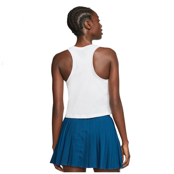NikeCourt Womens Cropped Tennis Tank, White, rebel_hi-res
