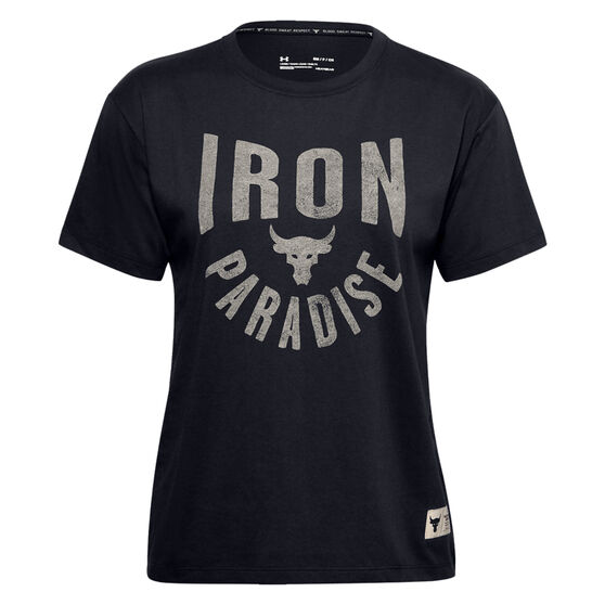 Under Armour Womens Project Rock Graphic Tee, Black, rebel_hi-res