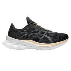Asics Novablast EDO Era Womens Running Shoes Black/Grey US 6.5, Black/Grey, rebel_hi-res