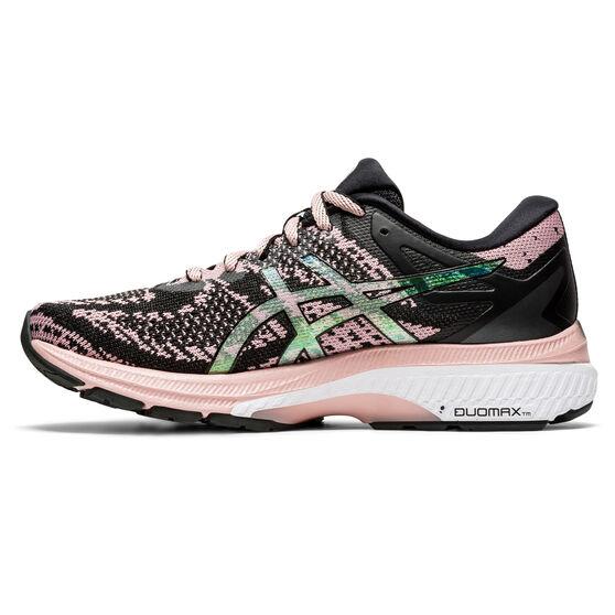 Asics GEL Kayano 27 Material Knit Womens Running Shoes, Black/Pink, rebel_hi-res