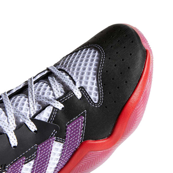 adidas Harden Step-Back Kids Basketball Shoes White/Purple US 4, White/Purple, rebel_hi-res