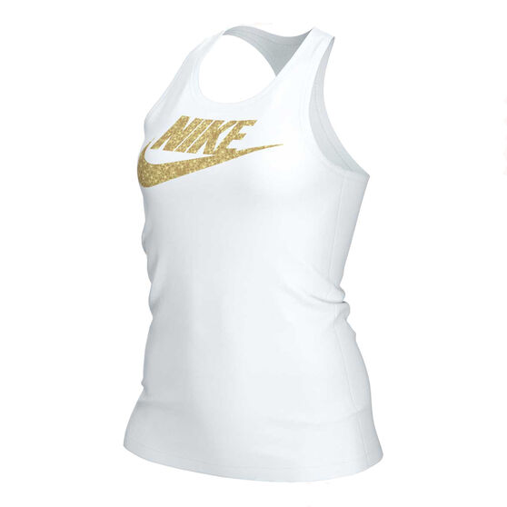 Nike Womens Sportswear Femme Shine Tank, White, rebel_hi-res