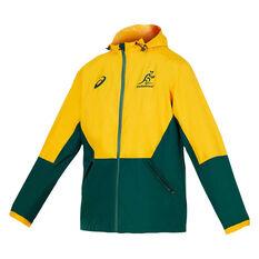 Wallabies 2020 Mens Wet Weather Jacket Gold/Green S, , rebel_hi-res