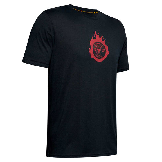 Under Armour Mens Project Rock Stay Strong Tee, Black, rebel_hi-res
