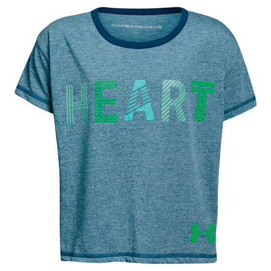 Under Armour Girls Heart Tee Blue / Green XS, Blue / Green, rebel_hi-res