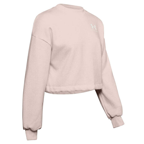 Under Armour Womens UA Rival Fleece LC Crew Sweater, Pink, rebel_hi-res