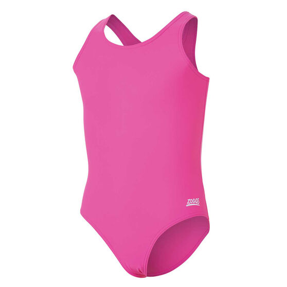 Zoggs Girls Cottesloe Sportsback One Piece Swimsuit, Pink, rebel_hi-res