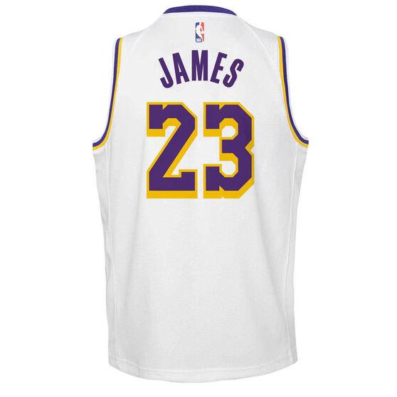 Nike Los Angeles Lakers LeBron James Association 2020/21 Kids Swingman Jersey, White, rebel_hi-res