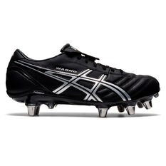 Asics Lethal Warno ST2 Rugby Boots Black/Silver US Mens 8 / Womens 9.5, Black/Silver, rebel_hi-res