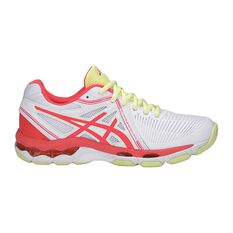 Asics Gel Netburner Ballistic Womens Netball Shoes White / Coral US 6, White / Coral, rebel_hi-res