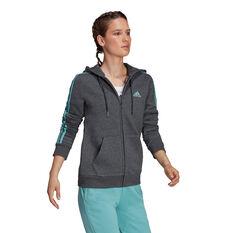 adidas Womens Essentials Fleece 3-Stripes Full Zip Hoodie, Grey, rebel_hi-res