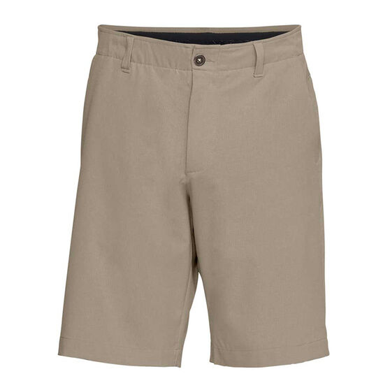 Under Armour Mens Showdown Vented Golf Shorts Khaki 30 in, Khaki, rebel_hi-res