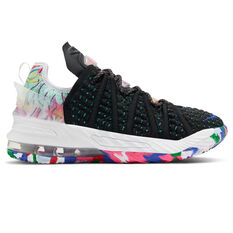 Nike LeBron XVIII Kids Basketball Shoes Black/White US 4, Black/White, rebel_hi-res
