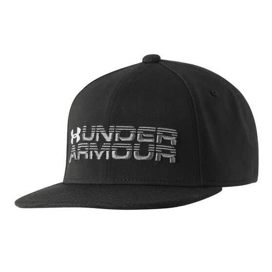 Under Armour Boys Novelty Flat Brim Hat Black OSFA, , rebel_hi-res