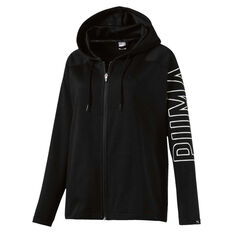 Puma Womens Fusion Full Zip Hoodie Black XS, Black, rebel_hi-res