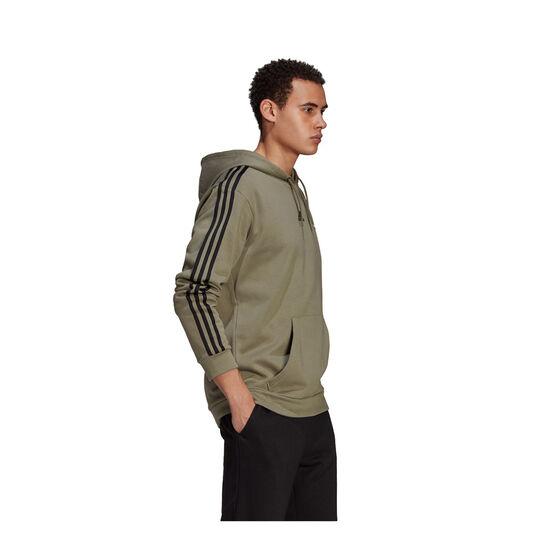adidas Mens Essentials 3-Stripes Fleece Hoodie, Green, rebel_hi-res