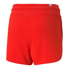 "Puma Womens Modern Basics 3"" High Waist Shorts Red XS, Red, rebel_hi-res"
