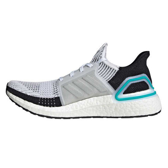 adidas Ultraboost 19 Mens Running Shoes, White / Blue, rebel_hi-res