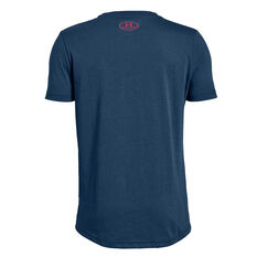 Under Armour Boys Sportstyle Logo Training Tee Blue / Red XS, Blue / Red, rebel_hi-res