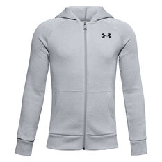 Under Armour Boys Rival Cotton Full Zip Hoodie Grey XS, Grey, rebel_hi-res