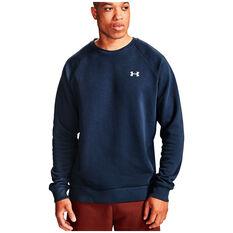 Under Armour Mens Volume Fleece Rival Cotton Sweatshirt Navy XS, Navy, rebel_hi-res
