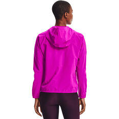 Under Armour Womens Woven Branded Full Zip Hoodie Pink XS, Pink, rebel_hi-res