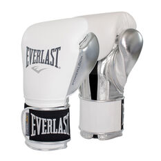 Everlast Pro Powerlock Training Boxing Gloves White 12oz, White, rebel_hi-res