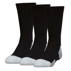 Under Armour Kids HeatGear Crew Socks 3 Pack Black L, Black, rebel_hi-res