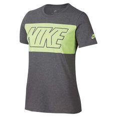 Nike Womens Block Tee Grey / Yellow S Adult, Grey / Yellow, rebel_hi-res