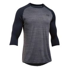 Under Armour Mens Tech Power 3 Quarter Sleeve Tee Black S, Black, rebel_hi-res
