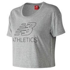 New Balance Womens Athletics Cropped Tee Grey L, Grey, rebel_hi-res