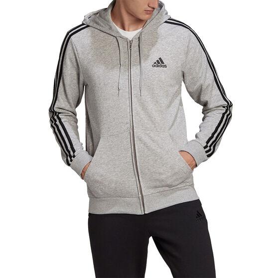 adidas Mens Volume Fleece 3 Stripes Full Zip Hoodie, Grey, rebel_hi-res