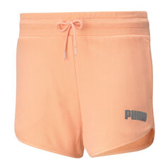 "Puma Womens Modern Basics 3"" High Waist Shorts Orange XS, Orange, rebel_hi-res"