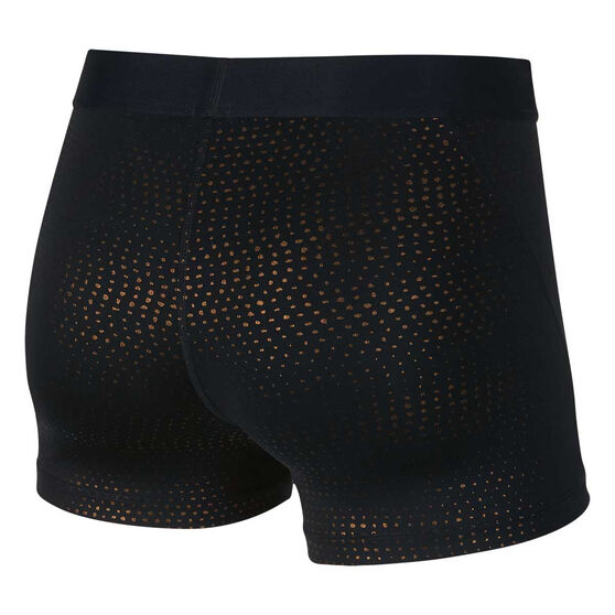 Nike Womens Pro 3in Metallic Dot Print Shorts Black XL, Black, rebel_hi-res