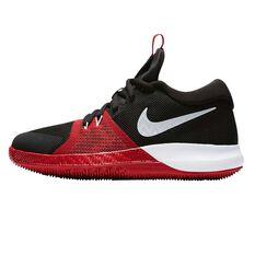 Nike Zoom Assersion Kids Basketball Shoes Grey / Black US 4, Grey / Black, rebel_hi-res