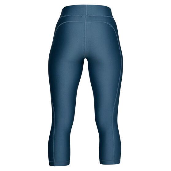 Under Armour Womens HeatGear Capri Blue / Silver XS, Blue / Silver, rebel_hi-res